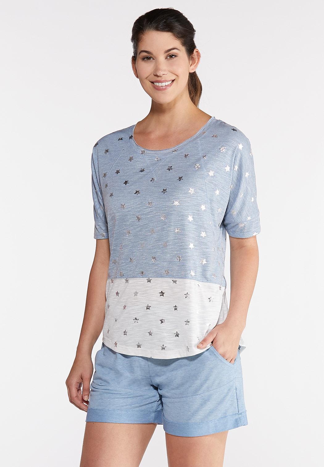 fb2b5d313da Plus Size Star Colorblock Tee Tops Cato Fashions