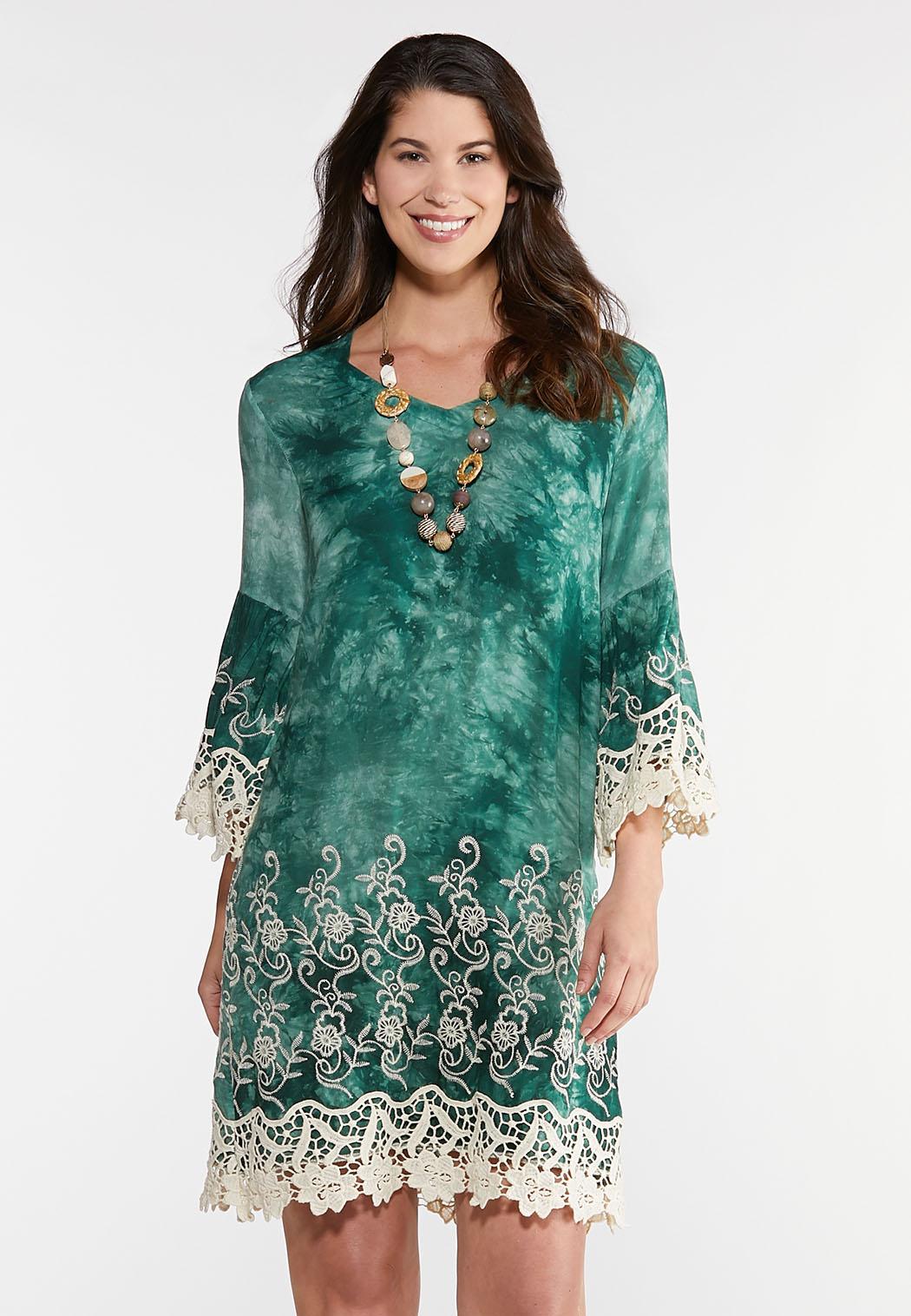 Plus Size Tie Dye Crochet Trim Dress Dresses Cato Fashions