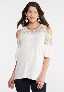 Plus Size Crochet Flutter Sleeve Top