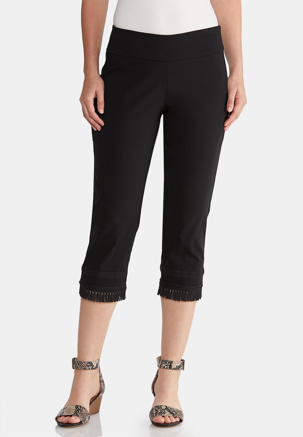 Cropped Fringe Hem Pants