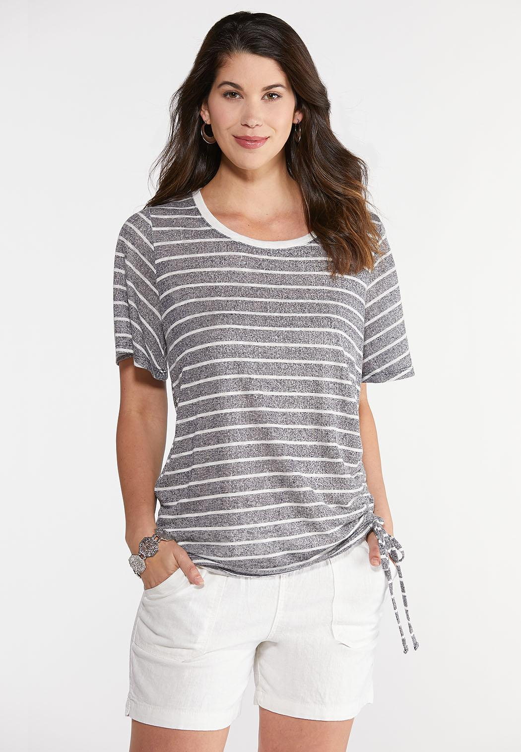 Cinch Front Striped Tee