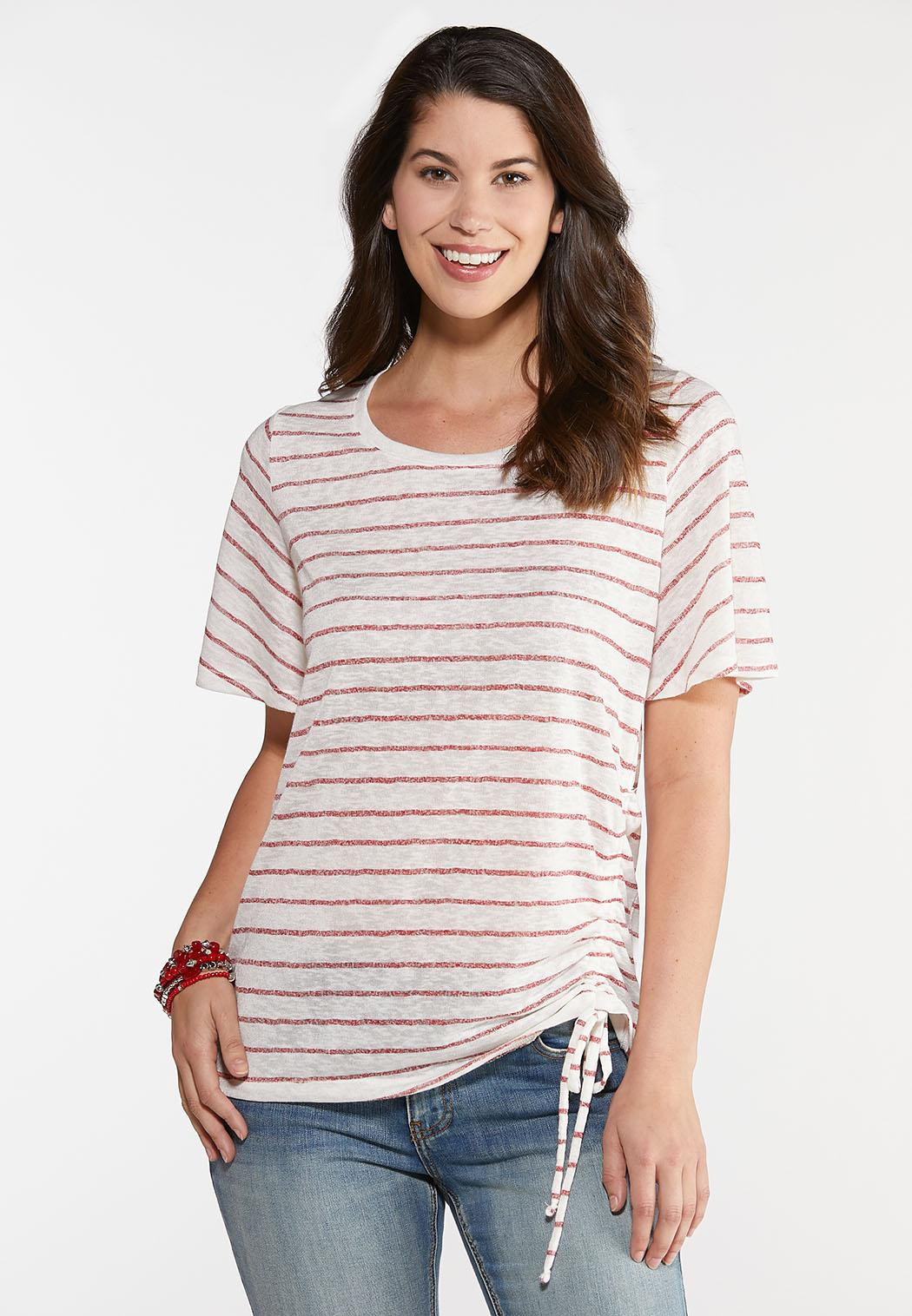 Plus Size Cinch Front Striped Tee