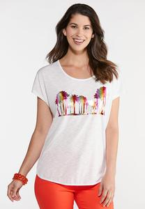 Plus Size Ombre Palm Graphic Tee