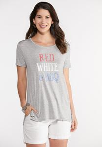 Plus Size Red White BBQ Tee