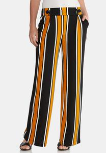 Striped Button Wide Leg Pants
