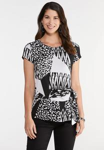 Knotted Mixed Animal Print Top