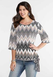 Plus Size Chevron Side Tie Top
