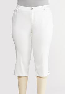 Plus Size Cropped Silver Button Pants