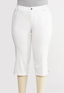 Plus Size Cropped Silver Button Pants