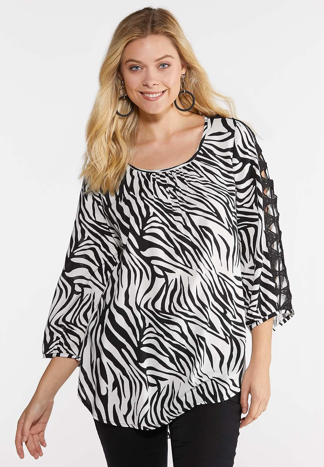 Plus Size Zebra Crochet Slit Sleeve Top