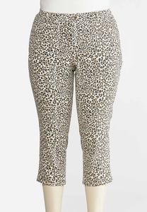 Plus Size Cropped Leopard Pants