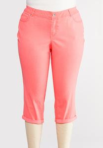 Plus Size Curvy Cropped Neon Cuffed Pants