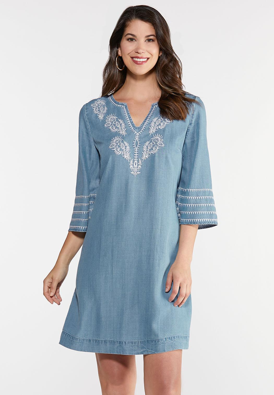 Plus Size Embroidered Chambray Tunic