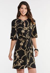 Plus Size Status Print Wrap Dress