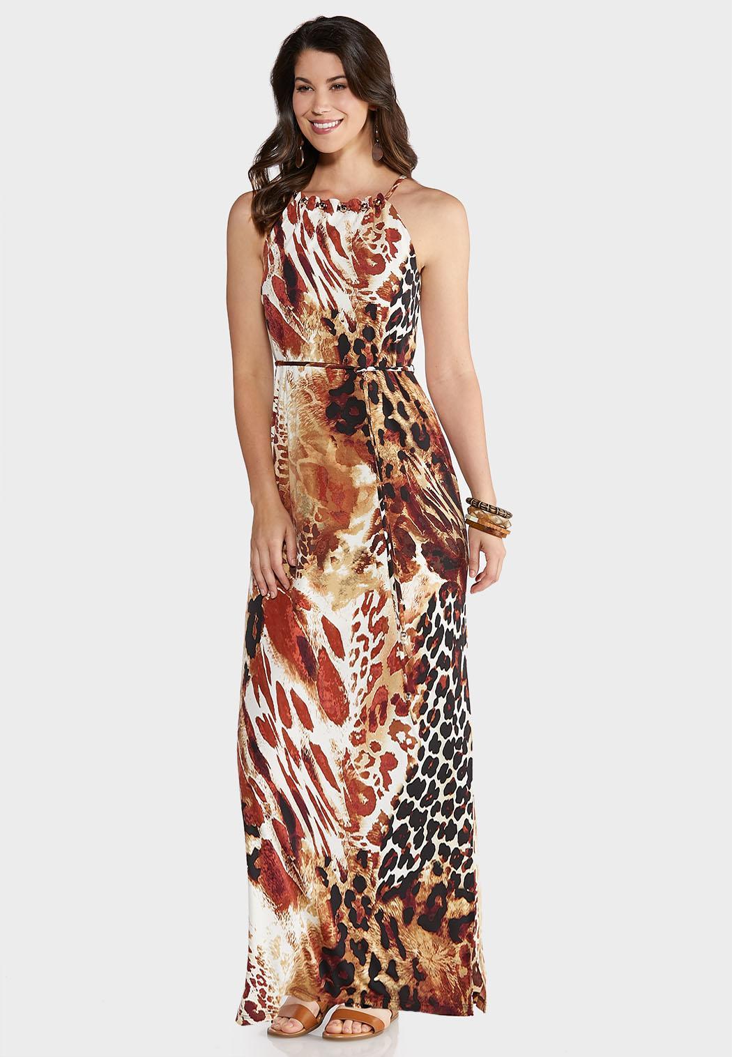 Tie Waist Animal Maxi Dress
