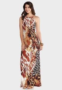 Plus Size Tie Waist Animal Maxi Dress