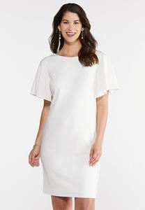 White Flutter Sleeve Sheath Dress