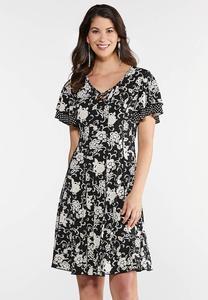 Floral Dot Puff Dress