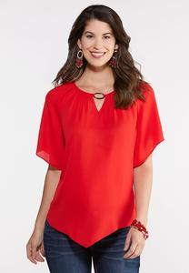 Plus Size Solid Pointed Hem Top