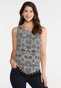 Plus Size Crochet Trim Floral Tank