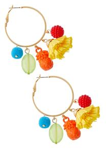 Tropical Tasseled Hoop Earrings