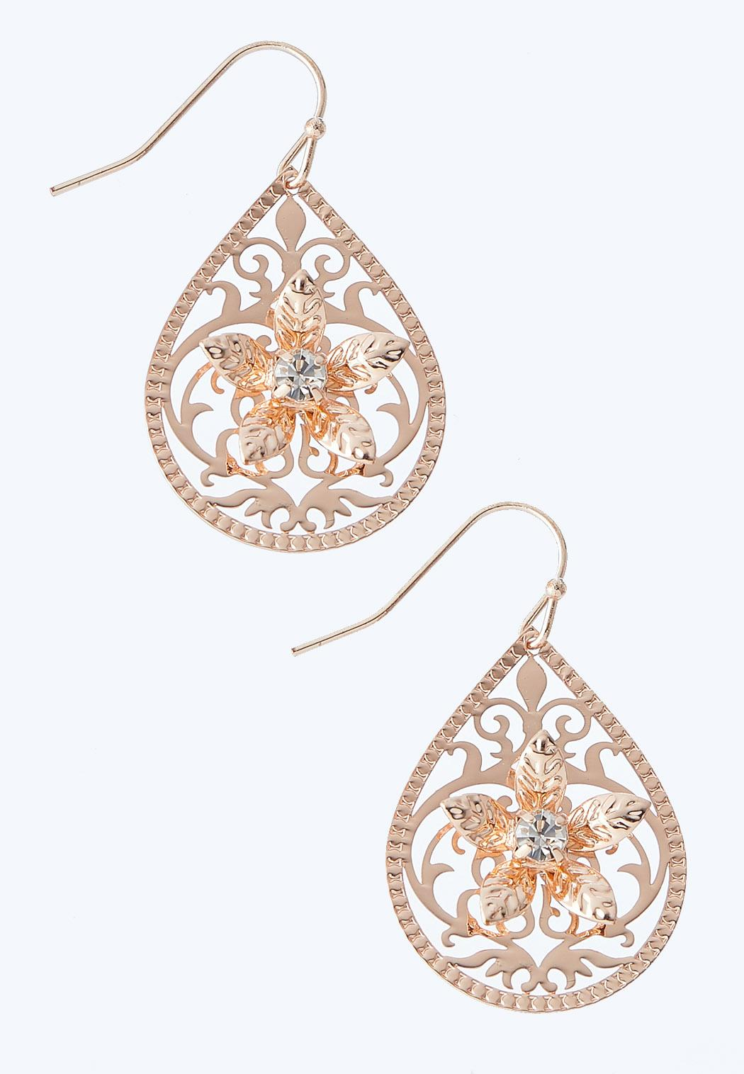 Filigree Flower Stone Earrings