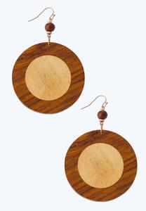 Two-Toned Wooden Circle Earrings