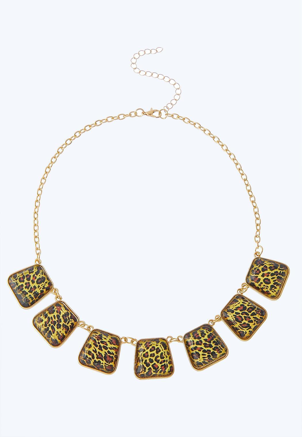 Leopard Stone Bib Necklace
