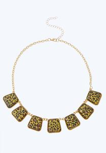 Leopard Stone Bib Necklace
