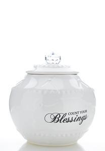 Count Blessings Ceramic Jar
