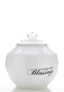 Count Blessings Ceramic Jar
