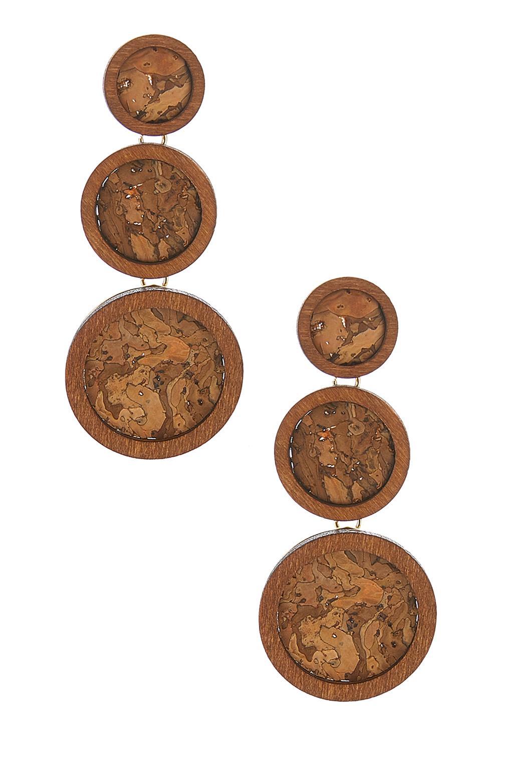 Cork Disc Linear Earrings