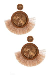 Cork Disc Fringe Earrings