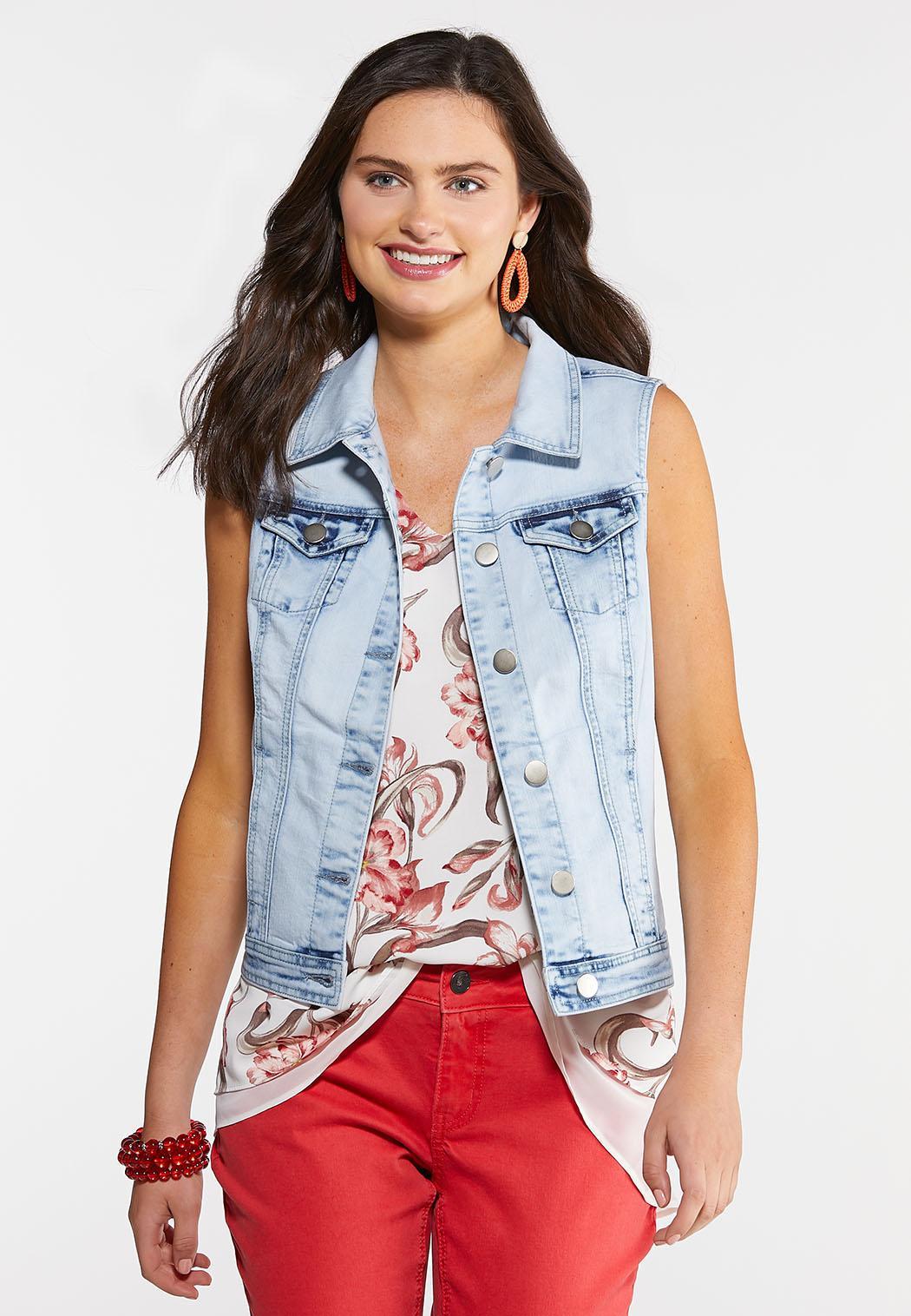 Plus Size Bleached Denim Vest Jackets & Vests Cato Fashions