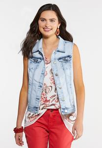 Plus Size Bleached Denim Vest