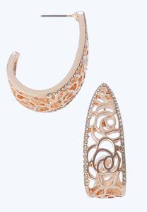 Fancy Filigree Hoop Earrings