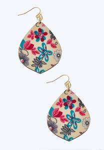 Floral Printed Dangle Earrings