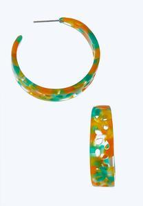 Multicolored Lucite Hoop Earrings
