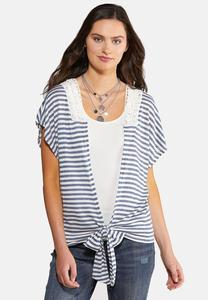 Plus Size Lacy Stripe Tie Front Cardigan