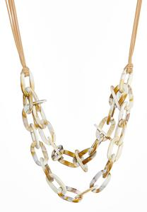 Layered Link Cord Necklace