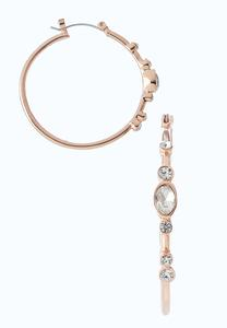 Rose Gold Stone Hoop Earrings