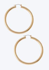 Vintage Gold Tube Hoop Earrings