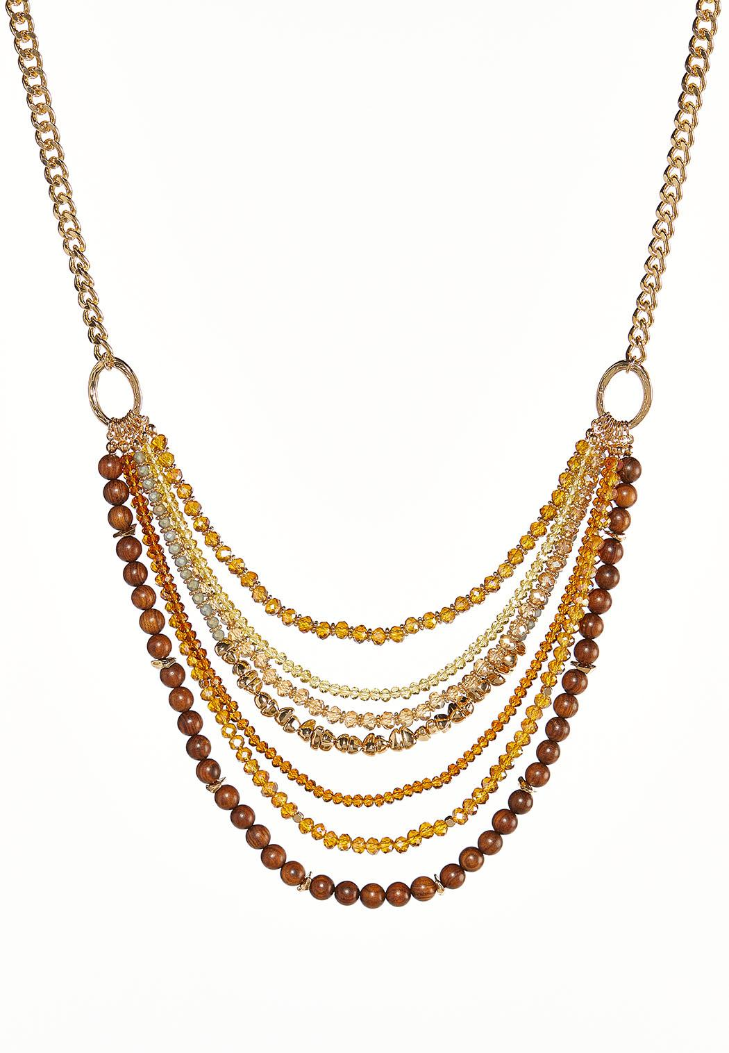 Golden Layered Bead Necklace