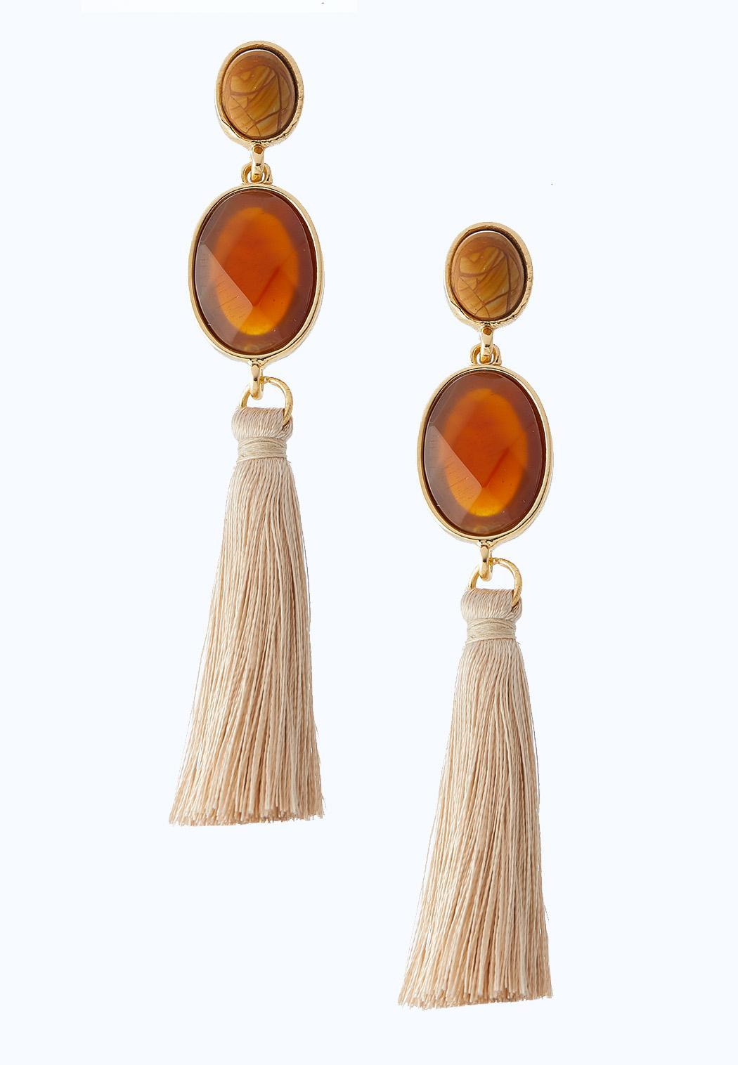Amber And Ivory Tassel Earrings