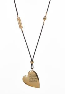 Inspirational Heart Cord Necklace