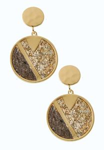 Round Cork Dangle Earrings