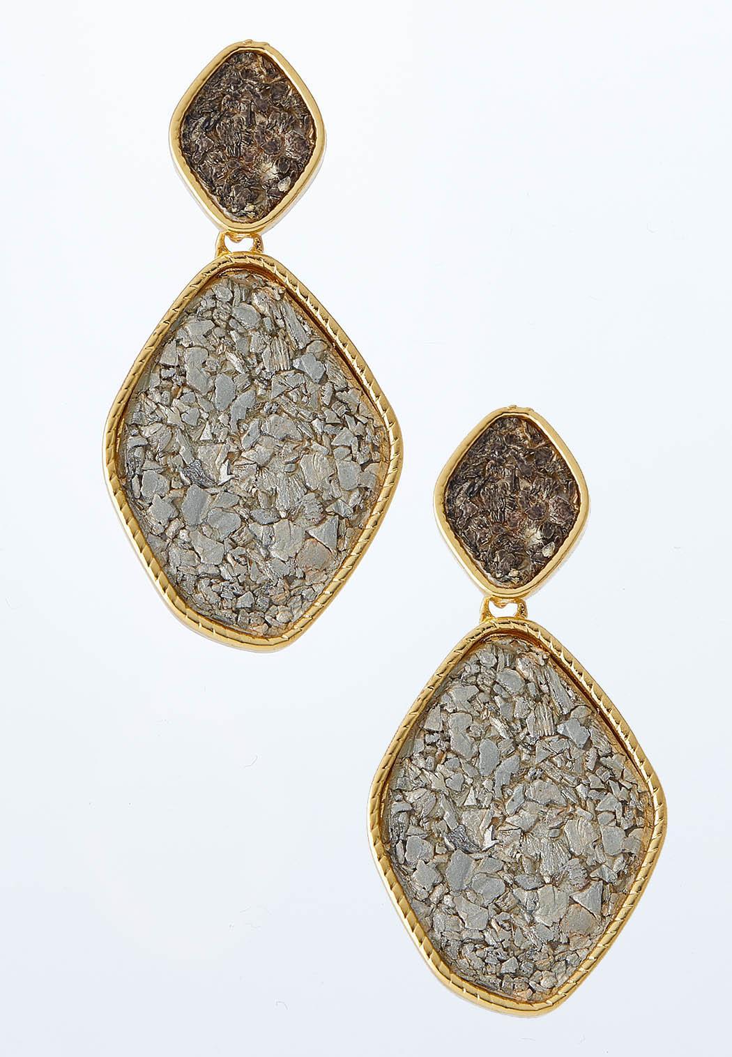 Cork Tiered Dangle Earrings