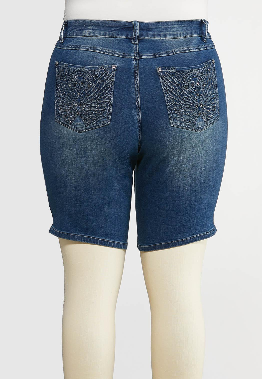 Plus Size Curvy Embellished Denim Shorts