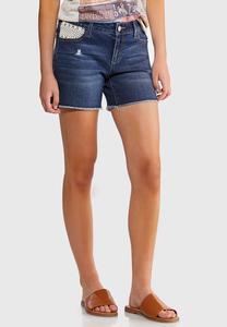 Crochet Pocket Denim Shorts