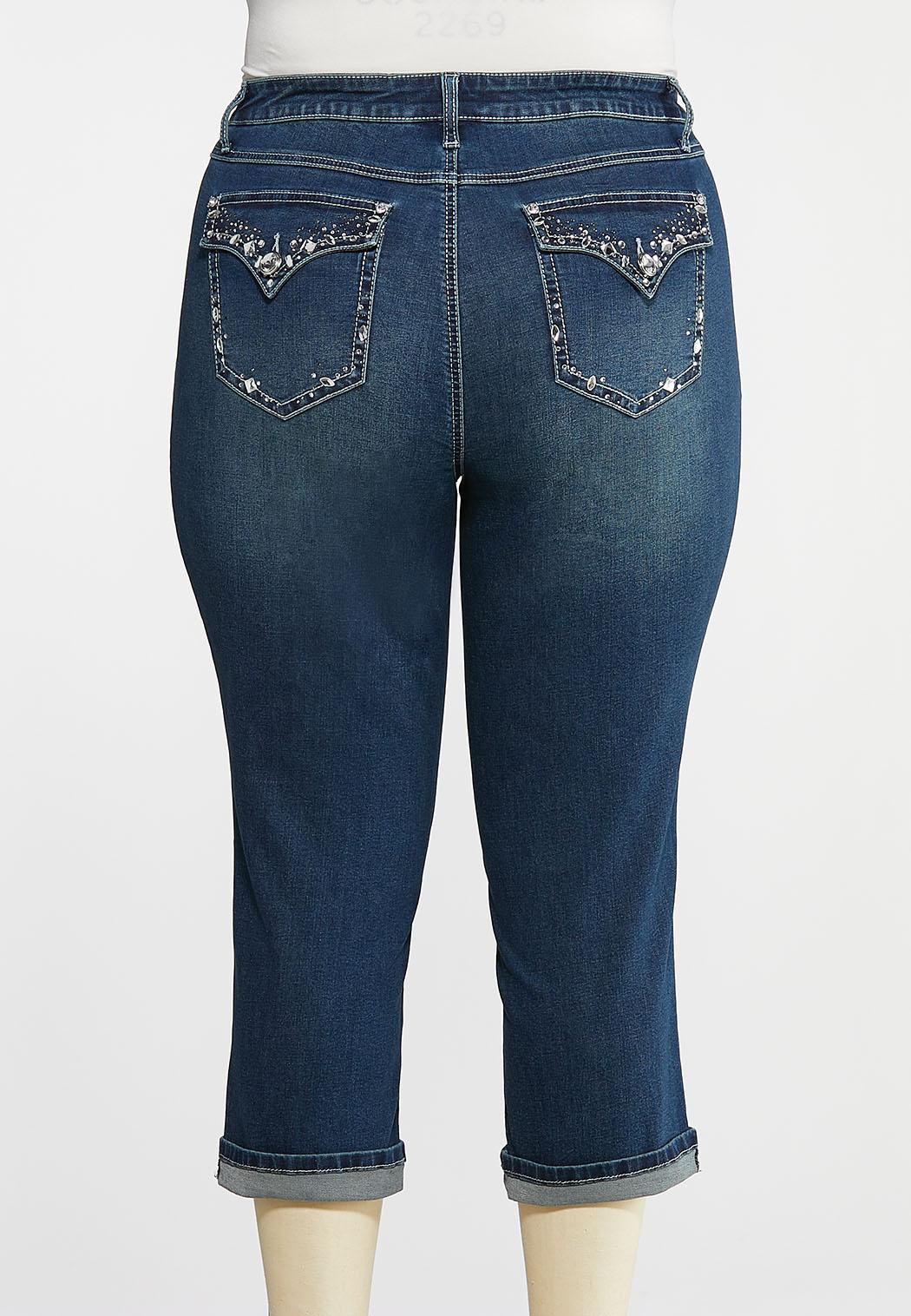 Plus Size Cropped Crystal Pocket Jeans